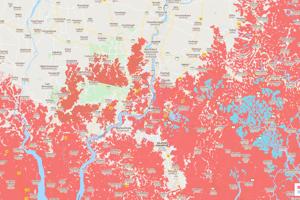 Červená znázorňuje budúce hrozby povodní v pobrežných oblastiach v Kalkate v Indii.