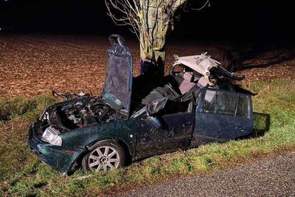 Octavia po tragickej nehode.