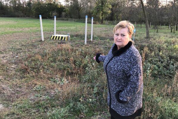 Starostka obce Dubovce Dana Mikulová ukazuje na zdroj pitnej vody, ktorý k obci doviedla BVS. Naň by sa chcela obec napojiť. Nemajú však peniaze.