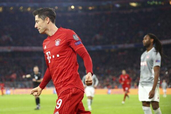 Robert Lewandowski, autor prvého gólu Bayernu v zápase proti Olympiakosu Pireus.