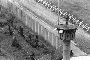 Letecký pohľad z r.1978 na berlínsky múr.