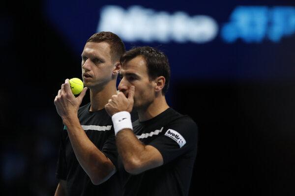 Filip Polášek (vľavo) a Ivan Dodig na ATP Finals 2019.
