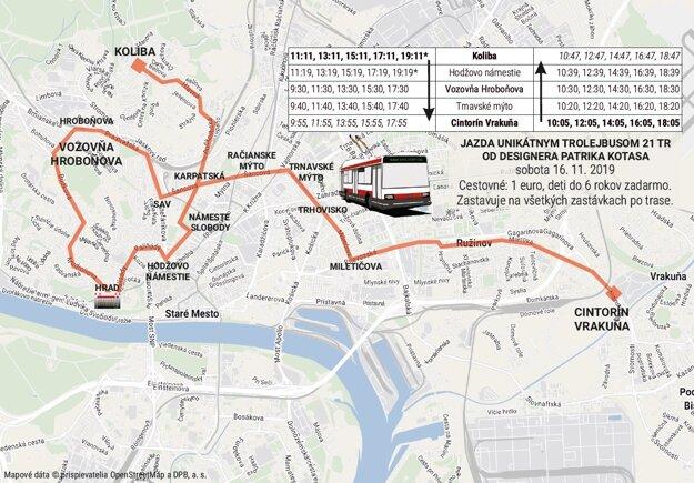 Trasa unikátneho trolejbusu