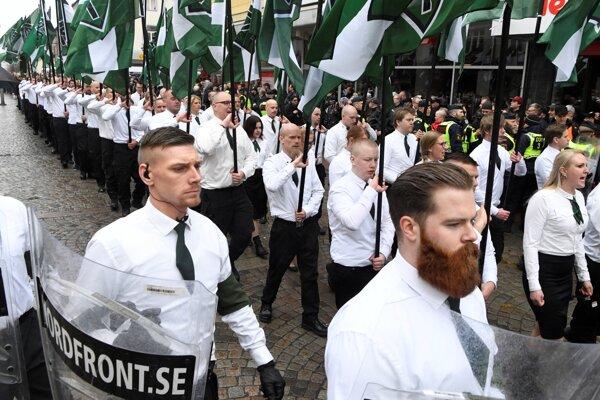 Pochod členov Nordfrontu vo Švédsku v roku 2018.