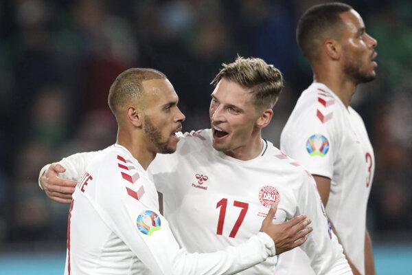 Radosť hráčov Dánska v kvalifikácii na EURO 2020.
