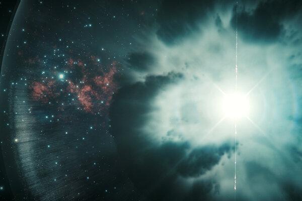 Umelecká predstava o vzniku zábleskov gama žiarenia.