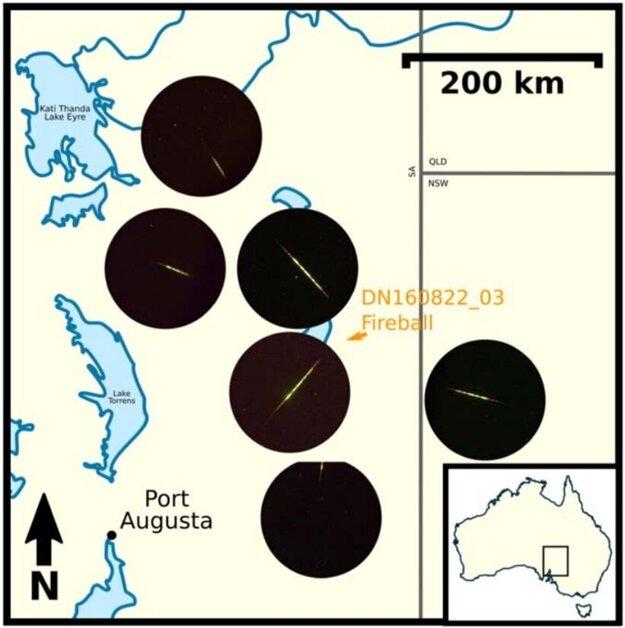 Mapa pozorovaní pomocou šiestich autonómnych kamier v Južnej Austrálii.