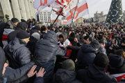 Protest v Minsku.