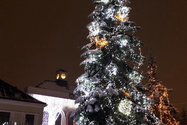 Vianočný stromček skrášľuje námestie.