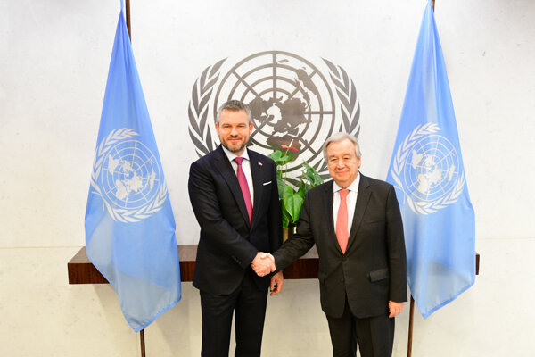 Slovenský premiér Peter Pellegrini a generálny tajomník OSN Antonio Guterres.