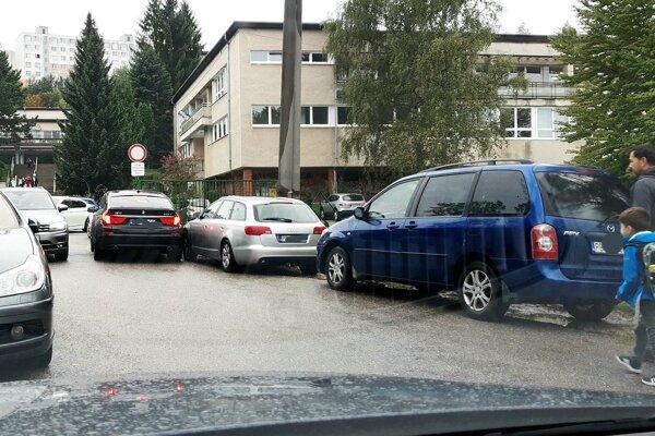 Na prístupovej ceste ku škole pod Rozkvetom.
