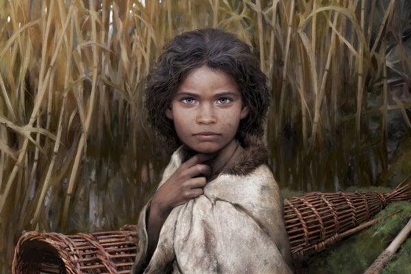 Umelecká podobizeň ženy, ktorá žila pred 5600 rokmi a žula brezový decht.