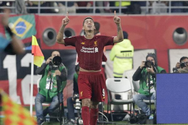 Roberto Firmino po strelenom góle vo finále MS klubov 2019 FC Liverpool - Flamengo.