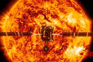 Umelecká predstava sondy Solar Orbiter pri našej hviezde.
