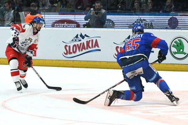 Michal Čajkovský počas MS v hokeji 2019 v zápase proti Česku.