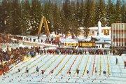 Štart štafetových pretekov žien na 3x5 km na MS 1970 vo Vysokých Tatrách.