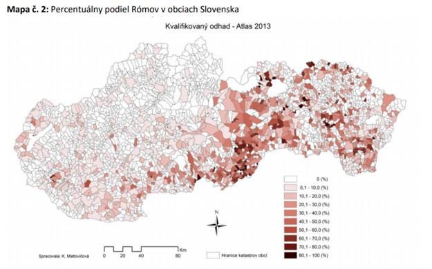 Koncentrácia Rómov v jednotlivých okresoch