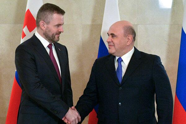 Predseda vlády SR Peter Pellegrini a predseda vlády Ruskej federácie Michail Mišustin.