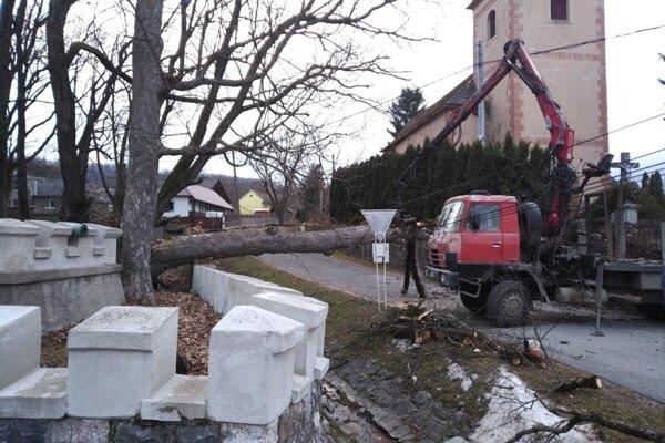 Odstraňovanie popadaných stromov v Betliari.