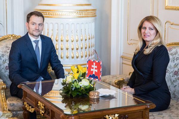 Líder hnutia OĽaNO Igor Matovič a prezidentka Čaputová.