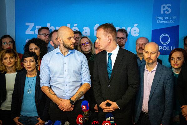 Končiaci lídri PS-Spolu Michal Truban a Miroslav Beblavý.