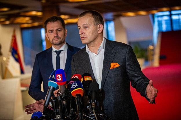 Voľby 2020: Igor Matovič a Boris Kollár po rokovaniach o novej vláde.