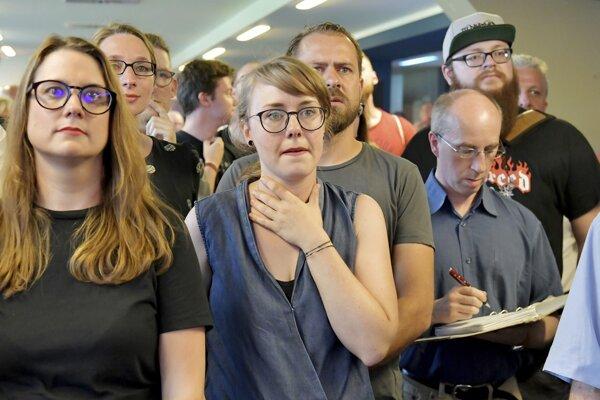 Stúpenci nemeckej ľavicovej strany Die Linke.