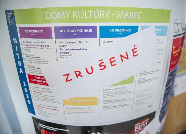 Oznámenie o zrušení kultúrnych akcií v Dome kultúry v Nitre.