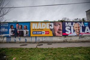 Volebné plagáty v uliciach Bratislavy.
