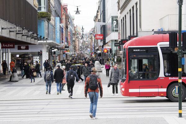 Centrum Štokholmu 1. apríla.