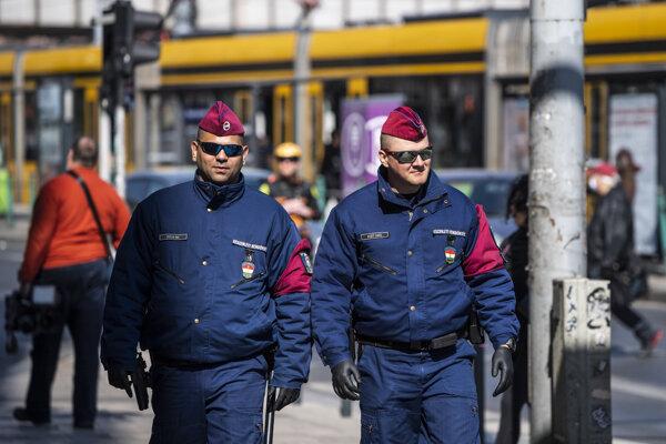 Policajná hliadka v Budapešti.