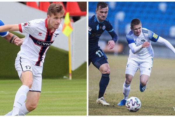 Nitran Patrik Danek (vpravo) hral ligu trikrát, Zlatomoravčan Dávid Haspra (vľavo) ešte na debut čaká.