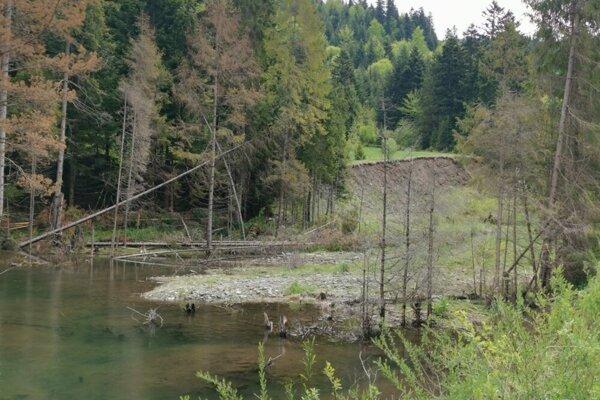 Zvyšky jazera, ktoré hrozilo vyliatím. Voda siahala až do výšky zadného svahu.