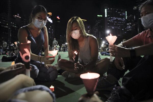Spomienka na masaker na pekingskom Námestí nebeského pokoja v Hongkongu.
