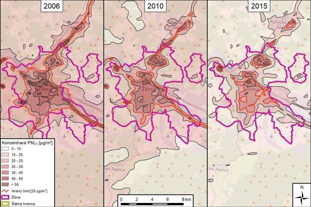 Mapa znečistenia.
