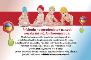 Ak chcete pridať svoje bábätko do tejto rubriky, pošlite fotografiu a údaje na adresu: redakcia.levice@petitpress.sk