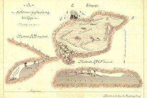 Mapa Dobšinskej ľadovej jaskyne od jej objaviteľa Eugena Ruffinyho. Verzia z roku 1887 s vyznačenými časťami prehliadkovej trasy a ľadovými stĺpmi.