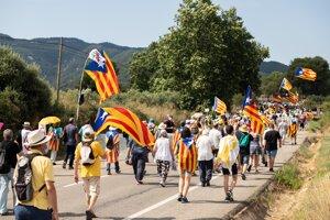 Protest katalánskych separatistov vo Vimbodi.