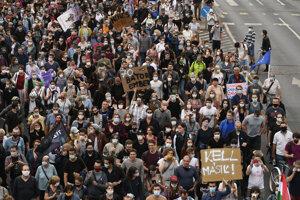 Demonštrácia za slobodu tlače v Budapešti.