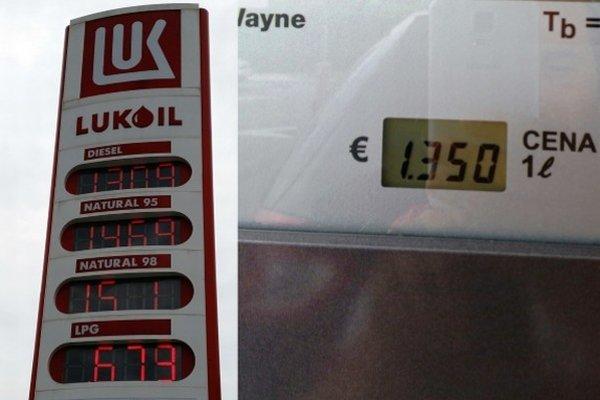 """Vľavo vidno cenu nafty na """"toteme"""", vpravo na výdajnom stojane."""