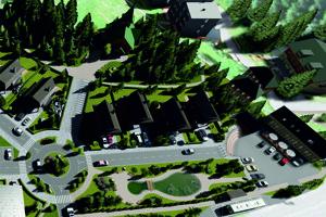 Vizualizácia nového centra Demänovskej Doliny.