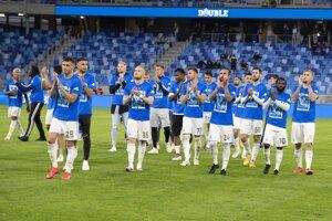 Futbalisti ŠK Slovan Bratislava na ilustračnej fotografii.