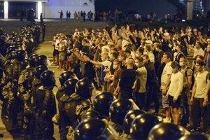 Povolebné protesty v Bielorusku.
