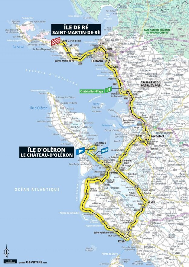 10. etapa na Tour de France 2020 - mapa.
