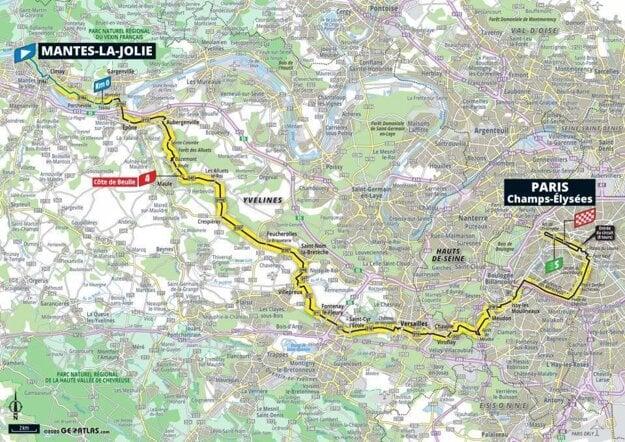 21. etapa na Tour de France 2020 - mapa.