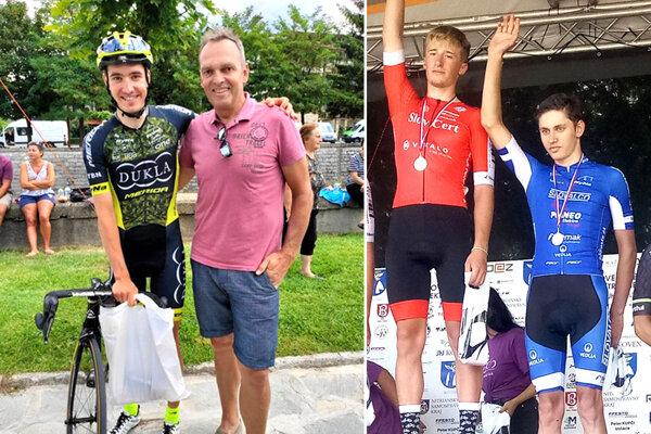 K prvému víťazstvu v pretekoch UCI gratuloval Martinovi Vlčákovi dvojnásobný víťaz Pretekov mieru aj držiteľ zeleného dresu z Tour de France Olaf Ludwig. Na druhej snímke v modrom drese Jakub Vlčák.