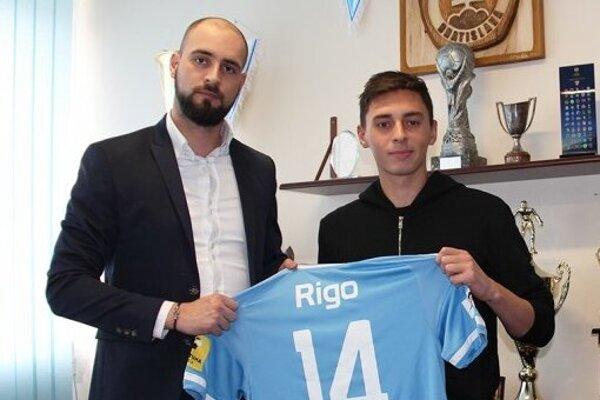 Šéf Slovana Ivan Kmotrík mladší (vľavo) a Marek Rigo na snímke z roku 2017.