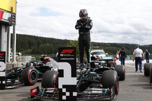 Lewis Hamilton po kvalifikácii na VC Belgicka.
