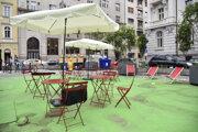 Snímka z otvorenia verejného priestoru na Komenského námestí  29. júla 2019 v Bratislave.
