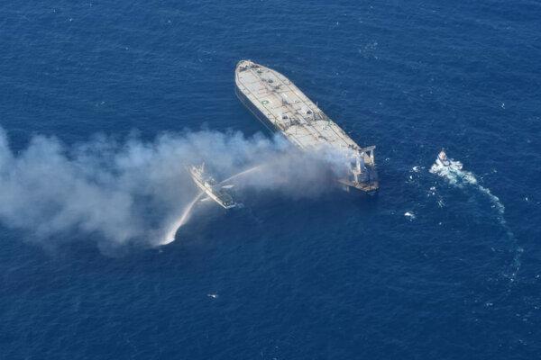 Hasenie požiaru na ropnom tankeri MT New Diamond.